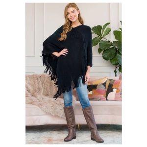 Soft Fall Poncho in Black